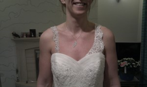 Some of the belts and straps that are for hire. Here is a lovely bride choosing